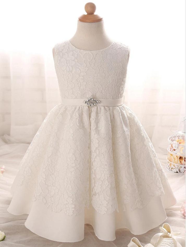Цветочное платье для девочек с круглым вырезом, ТРАПЕЦИЕВИДНОЕ кружевное Пышное Платье с поясом, платья для первого причастия для девочек, ...