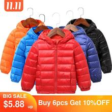 2020 Autumn Winter Hooded Children Down Jackets For Girls Candy Color Warm Kids Down Coats For Boys 2 9 Years Outerwear Clothes