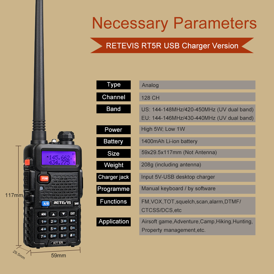 Retevis RT5R Walkie Talkie 2PCS 5W 128CH USB Charger Radio Station UV Dual Band Portable Ham Radio Two-way Radio for hunting