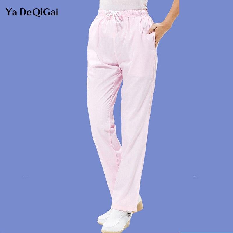 Scrubs Medical Uniforms Men Spa Work Pants Pharmacist Surgical Trousers Hospital Doctor Nurse Workwear Solid Color Elastic Pants