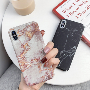 Marble Texture Granite Stone Case For iPhone XR XS Max XS Utral Thin Hard PC Matte surface Back Cover For iPhone 6 6s X 7 8 Plus(China)