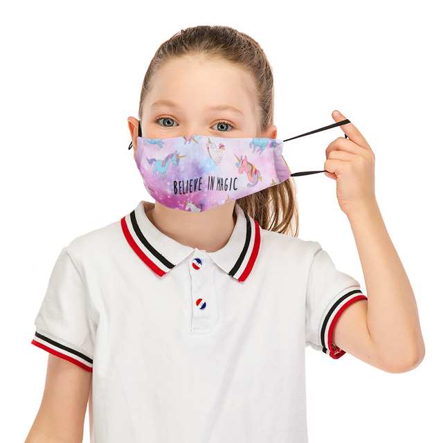 Cute Kids Mask Unicorn Reusable Mouth Mask Washable Face Mask With Filter Dust Child Anti Windproof Adjustable Straps Masks 1