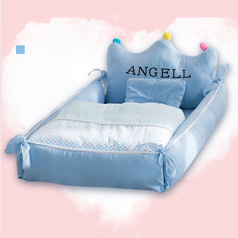 Baby Nest Bed with Pillow Portable Crib Travel Bed Infant Toddler Cotton Cradle for Newborn Baby Bed Bassinet Bumper