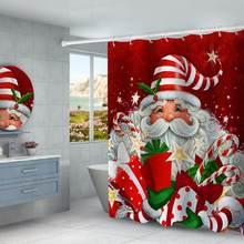 V Рождественская занавеска для душа тканевое украшение ванной