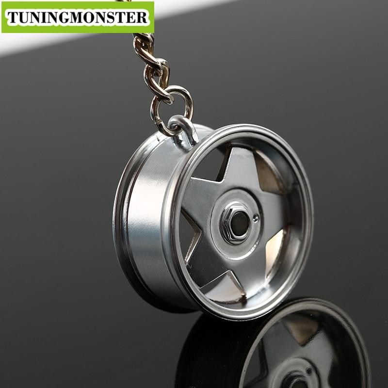 A Design Alloy Silver Polished Classic Car Auto Sports Wheel Rim Mini Keychain Key Chain Keyring Pendent Drop Shipping