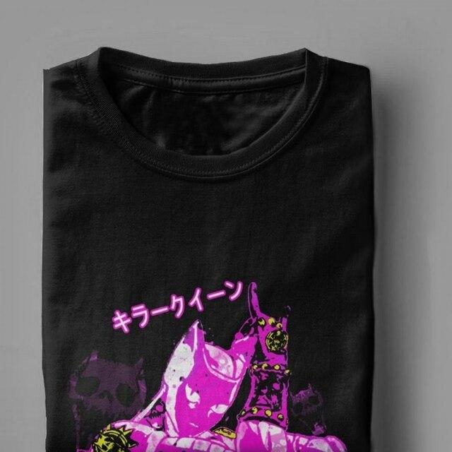 Killer Queen T Shirts Men Jjba Jojo Bizarre Adventure Grey Camisas Novelty Tops T Shirt Round Neck Cotton Tee Shirt for Male 3