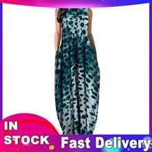 Maxi-Dresses Pockets O-Neck Ankle-Length Plain Loose Woman Summer Sleeveless Sleeveless