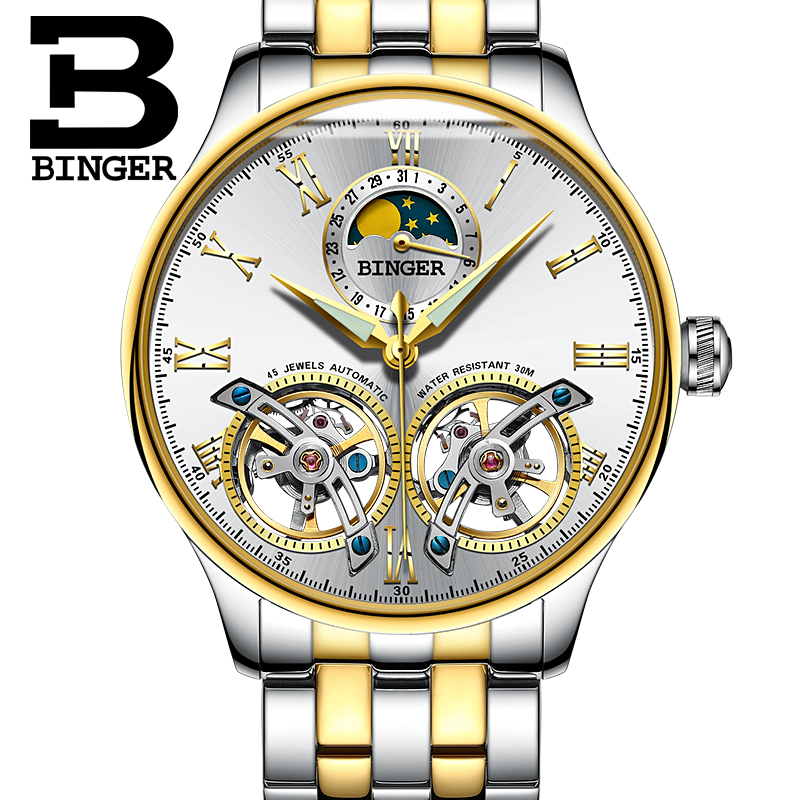 Швейцарские мужские часы Бингер Скелет автоматические часы для мужчин самоветер роскошные механические наручные часы relogio masculino золотой бе...