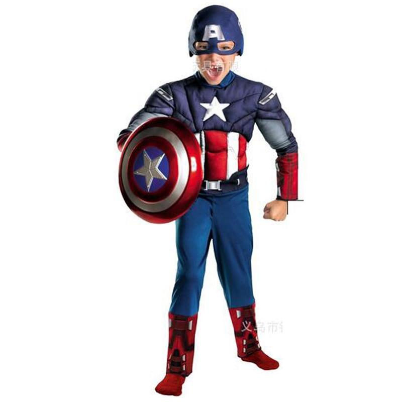Fantasia tprpco para crianças, traje de halloween para meninos, meninas, cosplay, carnaval, capitão américa, fantasia com escudo