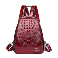 Crocodile Pattern Women Leather Backpacks High Quality Female Vintage Shoulder Bag Anti Theft Backpack Women Leather Chest Bag