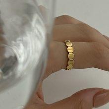 Bagues géométriques rondes pour femmes, élégantes, couleur or inoxydable, anneaux empilables minimalistes, réglables, mode je
