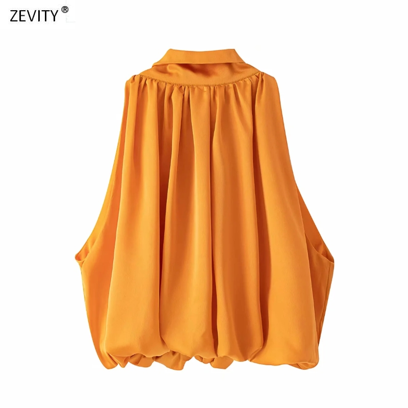 Zevity New Women Fashion Back Bow Tied Orange Casual Loose Blouse Female Stand Collar Sleeveless Shirt Chic Blusas Tops LS6801