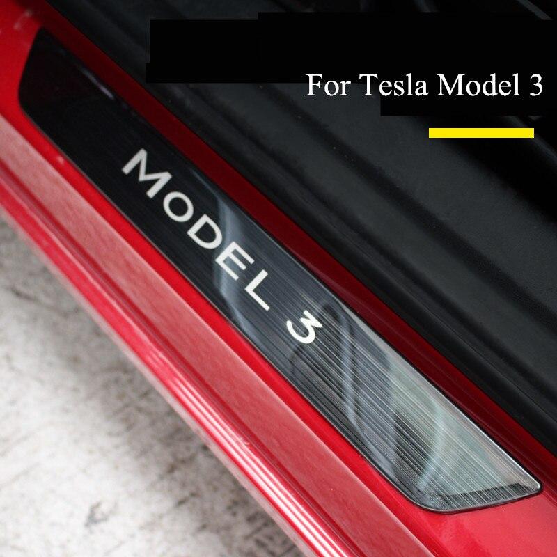 Placa de desgaste de umbral de puerta de coche de acero inoxidable para Tesla MODEL 3, tira de protección de Pedal de bienvenida, 3 tipos de umbral de puerta, cubierta de envoltura de decoración