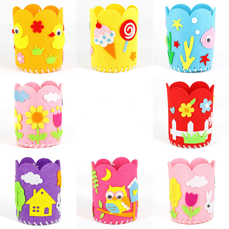 Cartoon Non-woven Pen Holder Kindergarten Handmade DIY Craft Toys Set Children's Three-dimensional Kids Crafts And Arts
