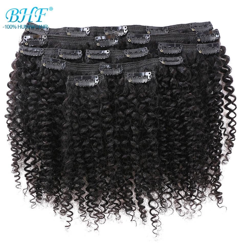 BHF афро кудрявые накладные человеческие волосы естественного цвета на всю голову 9 шт./компл. 100 г кудрявые монгольские неповрежденные волос...