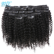 Human-Hair-Extensions Remy-Hair Curly Mongolian Clip-In Kinky Natural-Color Full-Head