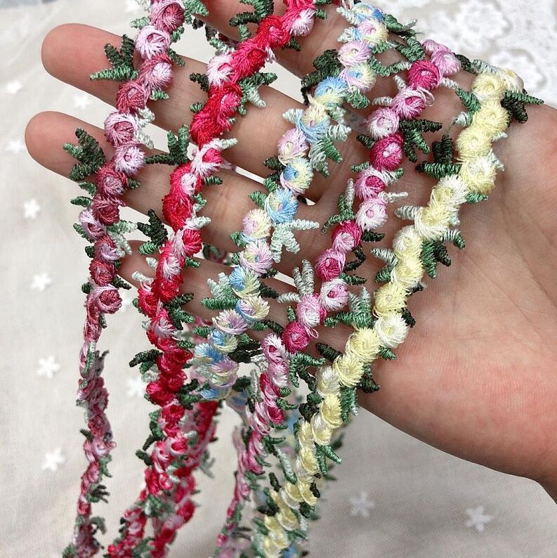 3 метра розовый красный зеленый полиэстер листья вышитая кружевная отделка Лента ручная работа по шитью ремесло для костюма украшение на шляпку