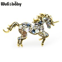 Wuli&baby Rhinestone Unicorn Brooches Women Alloy Horse Animal Weddings Banquet Brooches New Year's Gifts(China)