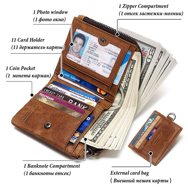 GZCZ Genuine Leather Men Wallet Fashion Coin Purse Card Holder Small Wallet Men Portomonee Male Clutch Zipper Clamp For Money 4