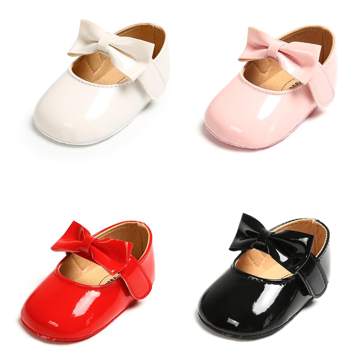 Nouveau-né bébé filles chaussures boucle en cuir synthétique polyuréthane premiers marcheurs avec noeud rouge noir rose blanc doux semelle antidérapante chaussures de berceau