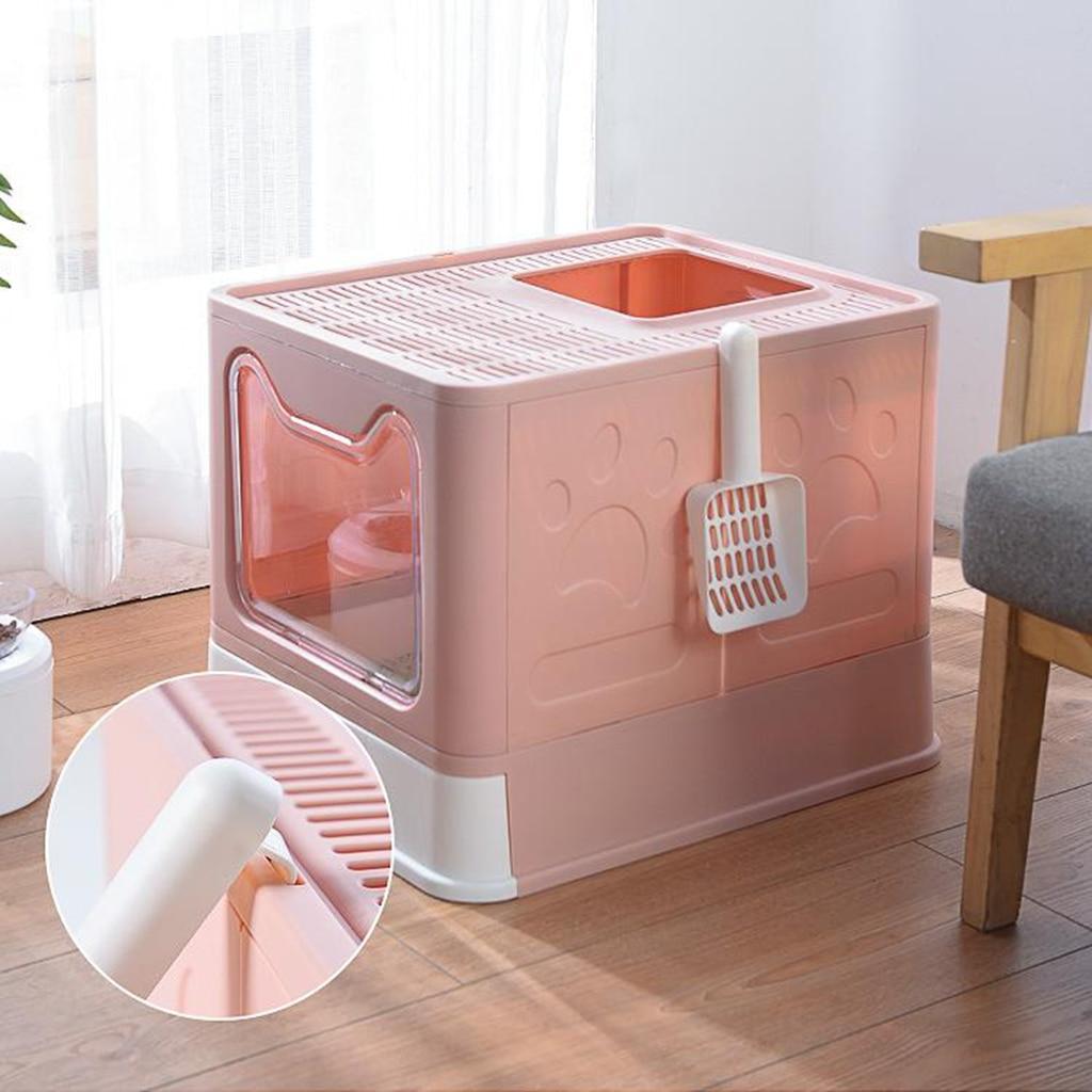 Portable Cat Litter Box Litter Tray 51x41x138cm Toilet Container Pan Shovel