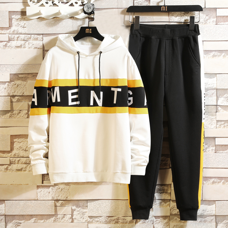 Tracksuits Mens Sport Set Suits Polyester Sweatshirt 2019 Spring Pullover + Joggers Pants Casual Men Track Sportswear Fitness