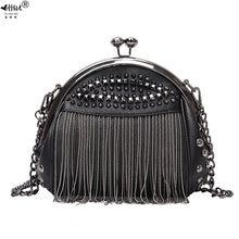Дизайнерская сумка с бахромой и заклепками винтажная модная