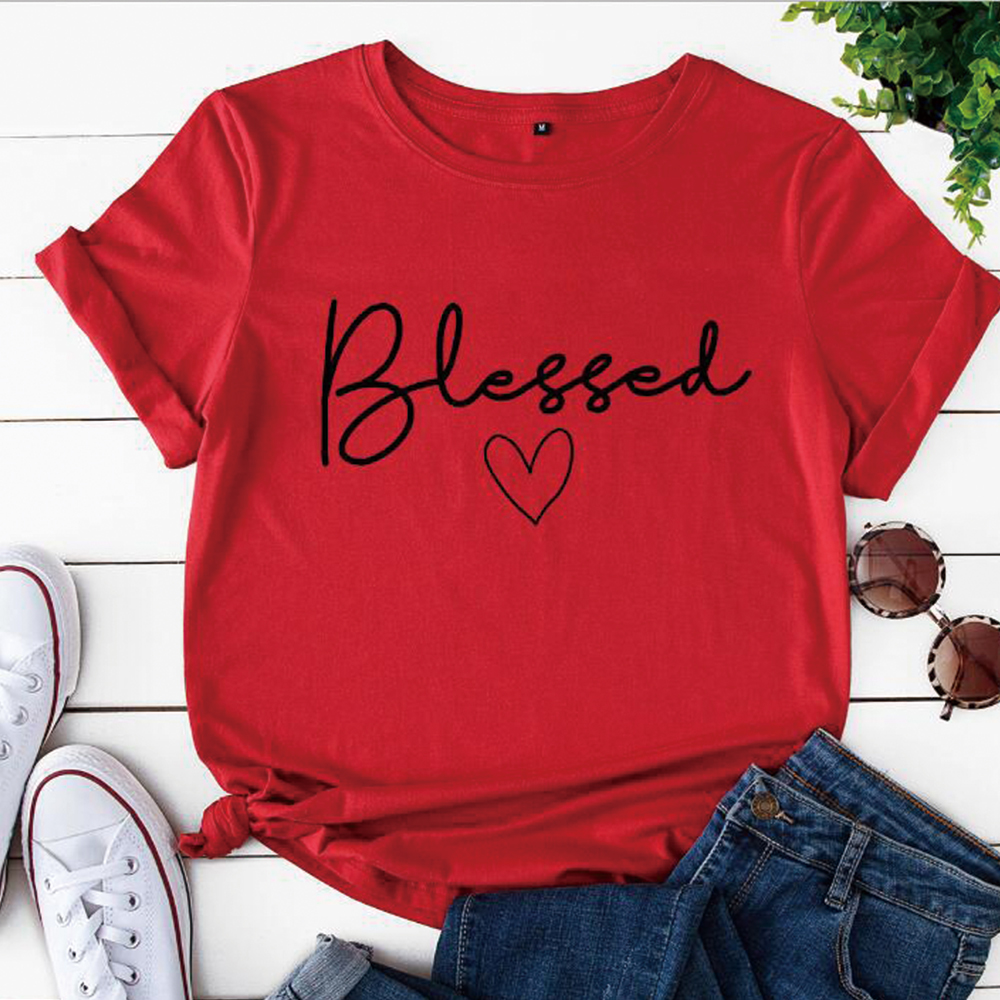 Blessed Heart Printing T-shirts Women Summer Clothes Vogue T Shirt Harajuku Graphic Tee Casual Short Sleeve Tops for Women