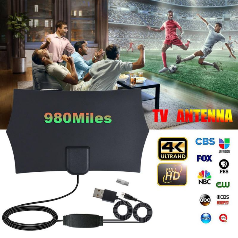 Universal 980Miles Max 4K Digital HDTV Indoor TV Antena Amplifier Signal Booster TV Signal Receiver High Gain Fox Antenna
