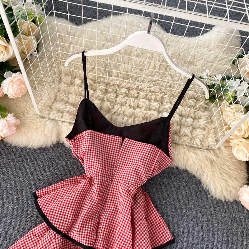 Estate Coreana di Serie DELLA RAGAZZA Outfit Dolce Balze Torta Dei Bambini del Vestito Sexy Scollo A V Backless del Vestito Plaid