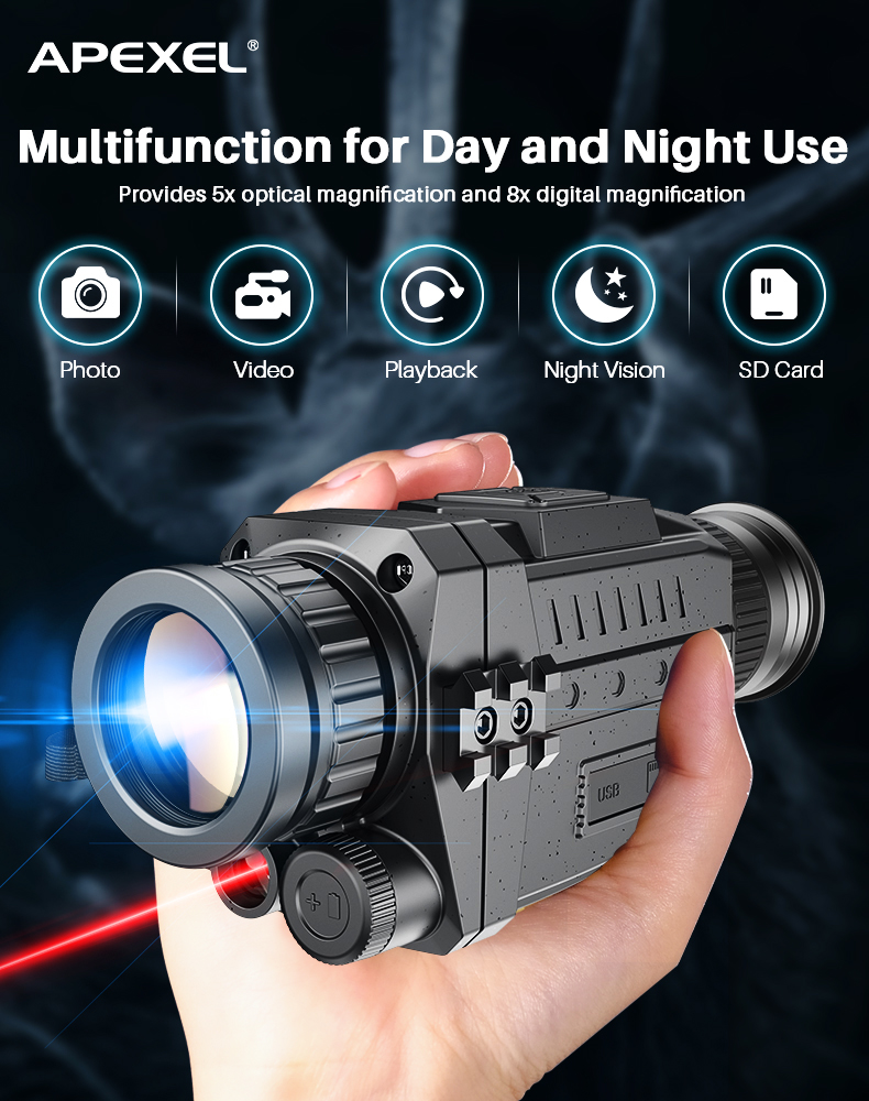 Apexel visão noturna infravermelha monocular digital ir