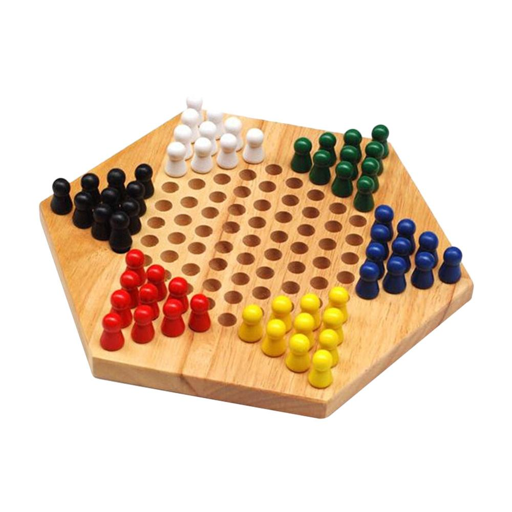 Traditional Hexagon Wooden Chinese Checkers Family Game Set With 60 Pegs In 6 Colors