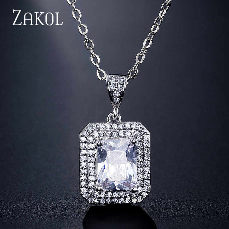 ZAKOL Classic Square Cubic Zirconia Simple Pendant Necklace for Women Wedding Jewelry Valentine's Day Gift FSNP2111