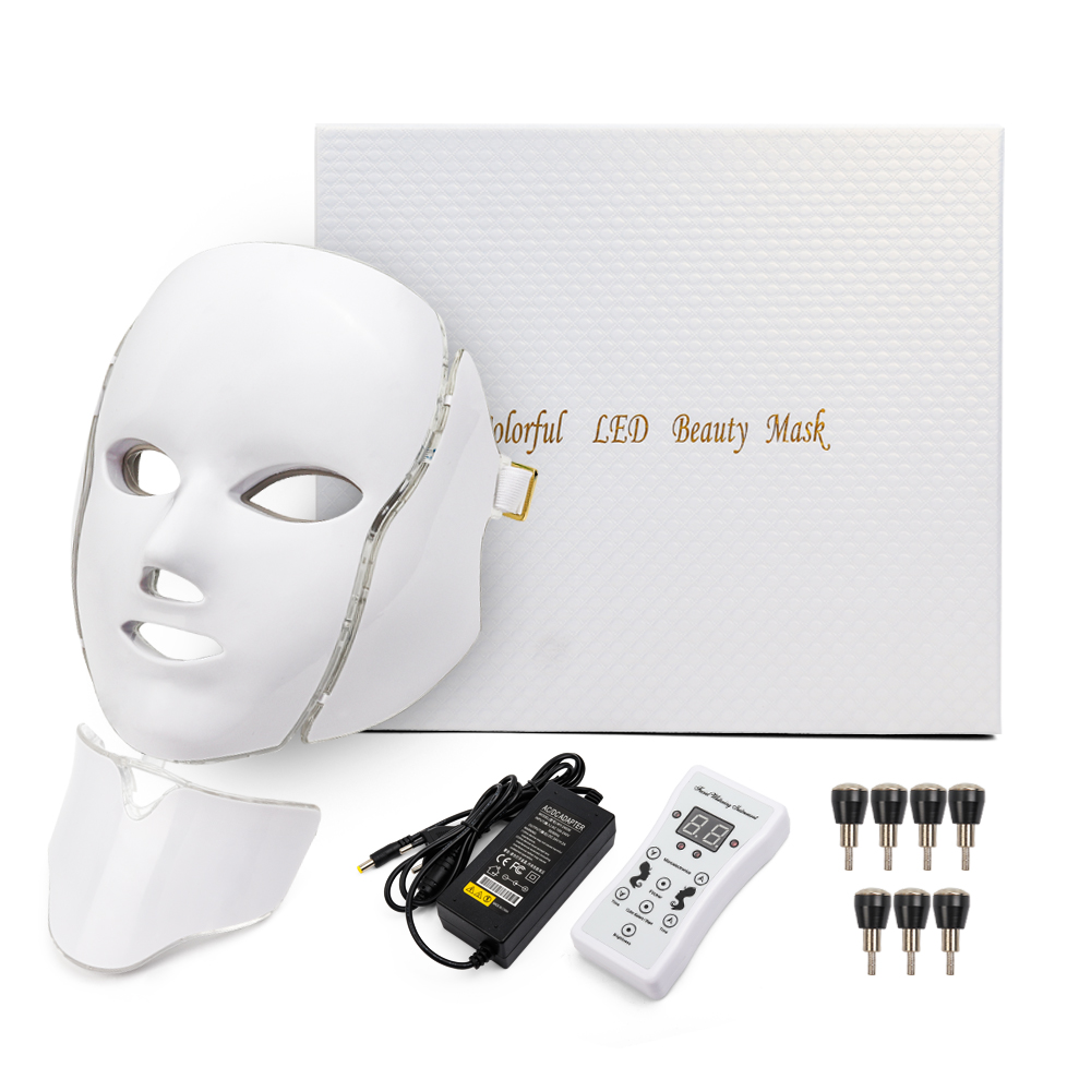 Купить с кэшбэком 7 Color Led Facial Light Face Mask With Neck Skin Rejuvenation Tighten Acne Anti Wrinkle Beauty Treatment Korean Photon Spa Home