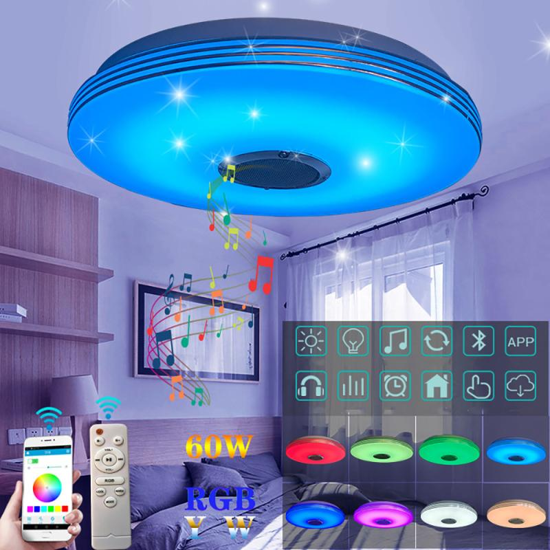 110V/220V LED Ceiling Lights with Dimmable RGB Bluetooth Music for Livingroom 36/60W APP Control Remote Control Lamp