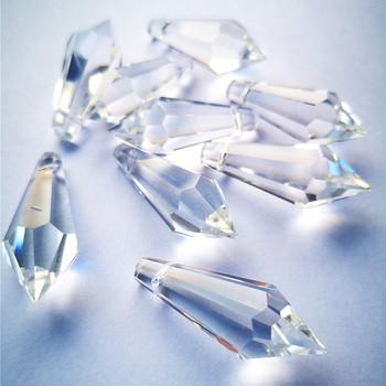 AAA górne jakości 25 sztuk 38mm jasnego kryształu sopel pryzmaty wisiorki do żyrandola (darmowe pierścienie) na oświetlenie szklane akcesoria do zasłon tanie i dobre opinie CN (pochodzenie) 10mm Kryształowy żyrandol TZCH-0190 Crystal Chandelier prisms 25pcs clear K9 Crystal chandelier hanging pendants decoration