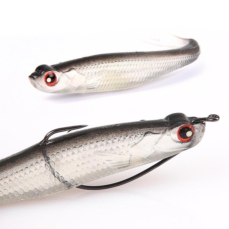 4pcs/lot 130mm/8.2g 3D Eyes Popular Soft Fishing Lure Soft Bait Swimbaits Jig Head Soft Lure Fly Fishing Bait