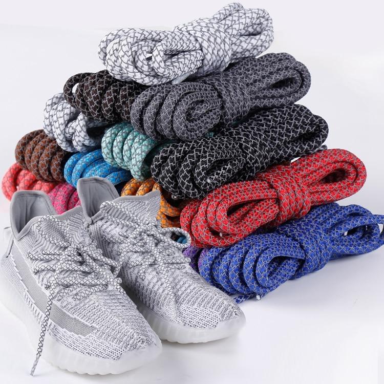1 Pair Round Shoelaces Top Quality 3M Reflective Shoe Laces Boot Laces Sneaker Shoelace 19 Colors Length 100cm 120cm 140cm 160cm