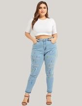 купить M-4XL Plus Size Skinny Jeans Women Casual Hole Denim Jeans Nature Waist Pencil Pants Washed Summer Mom Jean Femme Pants по цене 1755.29 рублей