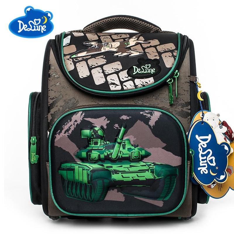 Delune Brand Kids School Bags For Boys Girls Backpack orthopedic 3D Cartoon Tank Pattern