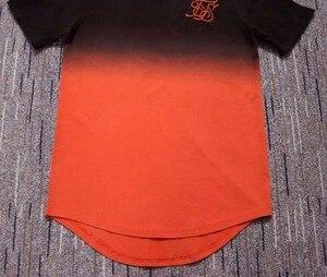 Image 4 - Zomer Katoen Zijde Siksilk T shirt Gradiënt Bedrukte T shirts Korte Mouwen Hip Hop T shirt Shirts Tops Mannen Longline Tees Met