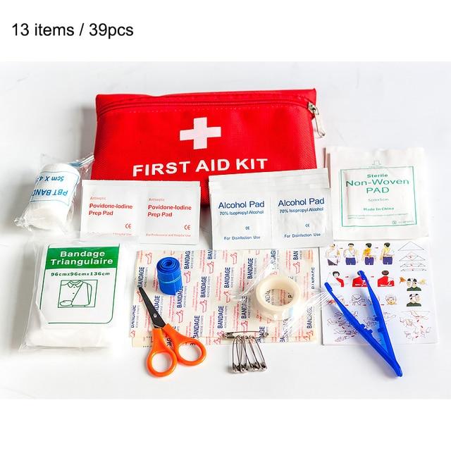 13 البنود/39 قطعة مقاوم للماء السفر في الهواء الطلق سيارة الإسعافات الأولية المنزل صندوق أدوات طبية صغيرة مجموعة الحبال في حالات الطوارئ المنزلية