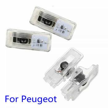 2 sztuk samochodów Led drzwiowe światło wejściowe projektor z Logo laserowe dekoracji światło Ghost Shadow dla Peugeot 3008 407 408 508 RCZ 1007 tanie i dobre opinie silanka CN (pochodzenie) Witamy Światło