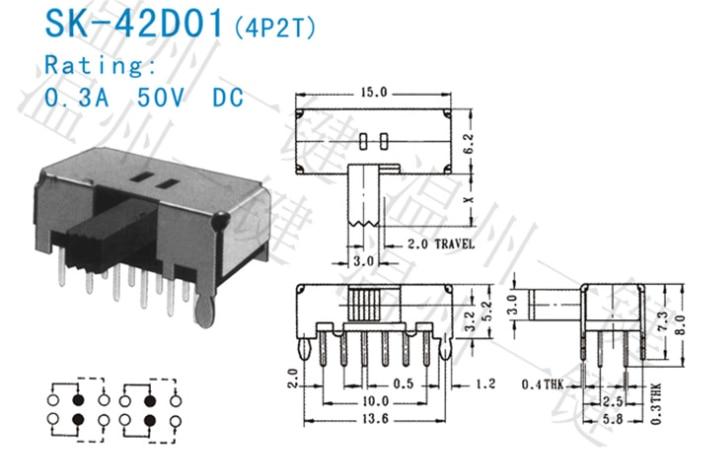 10 Stücke 5mm Vertikale Schiebeschalter SPDT 3 Terminals PCB Panel Verriegelung