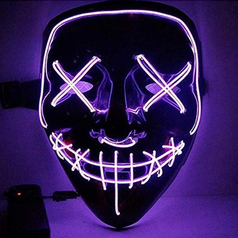 1 шт. светящаяся маска светодиодный светящийся Вечерние Маски для разминки год для выбора Большие Смешные Маски фестиваль Косплей Костюмные принадлежности Светящиеся в темноте - Цвет: H06
