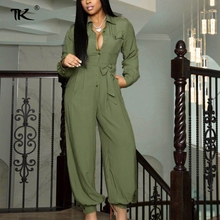 Solid Turndown Collar Female Jumpsuit Long Sleeve Jumpsuits Woman Summer 2021 Casual Romper Streetwear Waist Tie Outfit Women