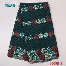 Новое Африканское зеленое высококачественное платье ткань, нигерийский поворотный вентилятор вышивка кружевная ткань с принтом хлопок YA2909B-5