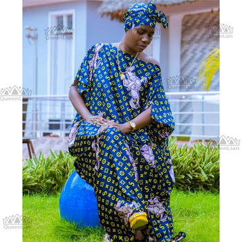 Length:150cm,Bust:190cm Free Size New  Chiffon Super Size African  Dashiki Traditional Party Dress with Scarf  For Lady(DBF09#)