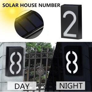 Image 2 - numero de maison exterieur maison plaque de porte lumière solaire numérique LED numéro de porte adresse chiffres numéro de montage mural pour la maison avec batterie