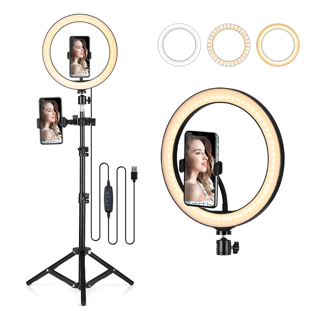 """10.2 """"LED halka ışık dim masa kamera lambası 3 işık modları 10 ayarlanabilir parlaklık tik tok selfi ışığı makyaj Video vlog"""